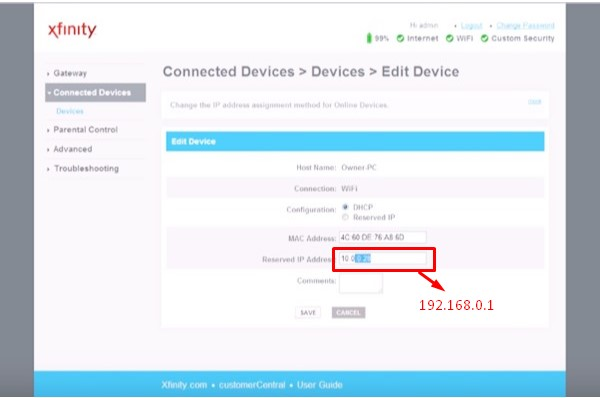 change the IP address from 10.0.0.1 to 192.168.0.1 step 3