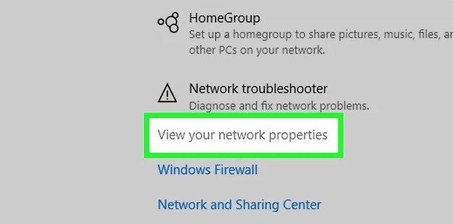 Select View your network properties