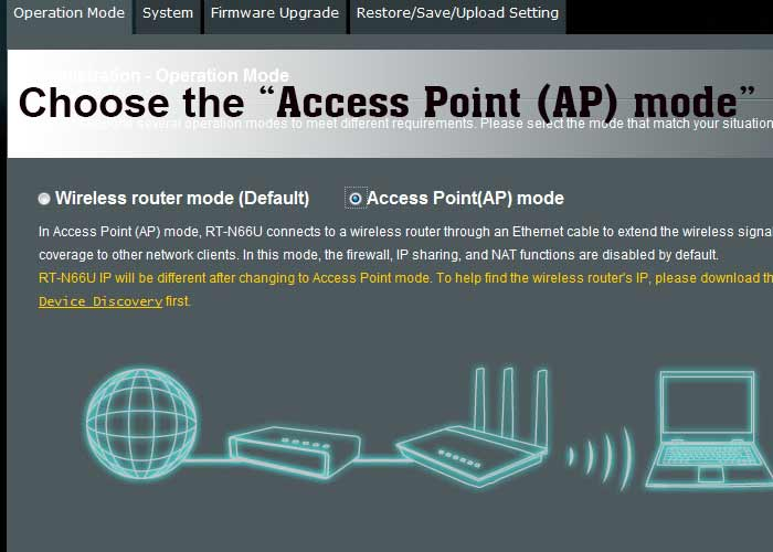 Choose the Access Point (AP) mode