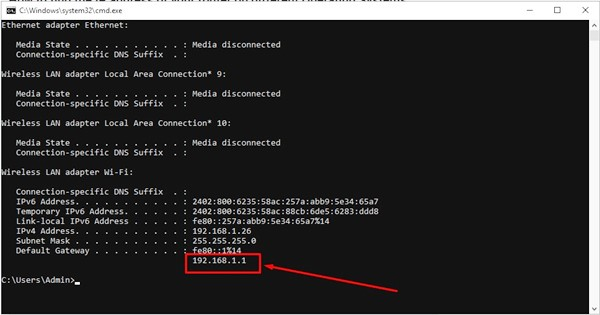 Finding your private IP address on the Windows system step 3