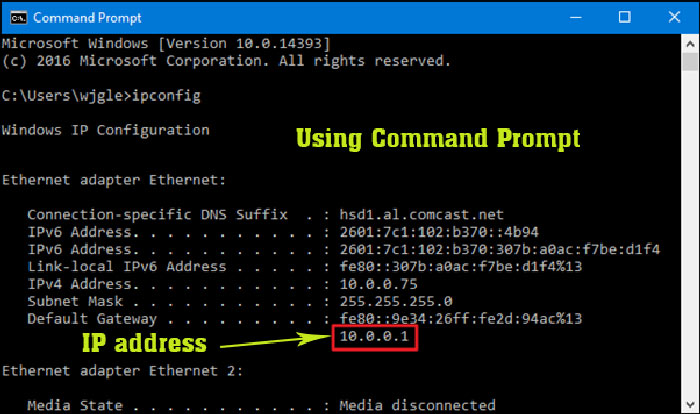 Find ip address using Command Prompt