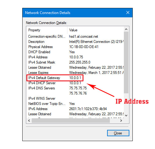 Find ip address using network connection details