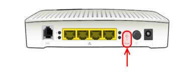 The reset button of router/modem