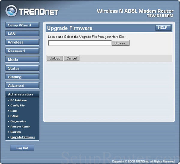 TRENDnet router's Firmware updating interface