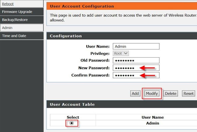 Change router password