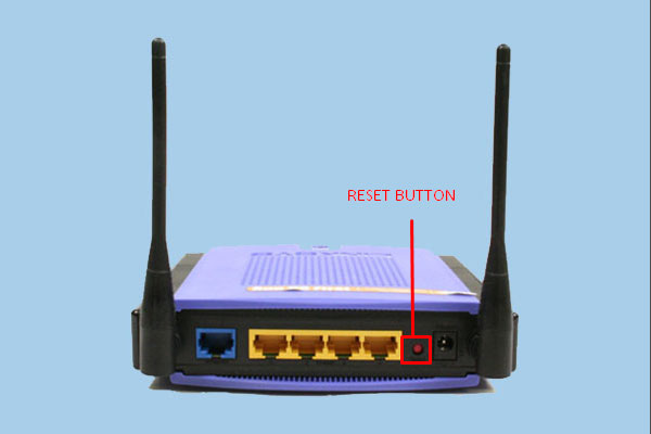 Linksys router's Reset button