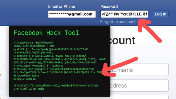 An example of a Facebook hack