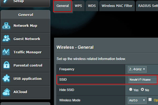 Enter your favorite name in the SSID box