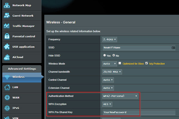 choosing WPA2 Personal for the Authentication Method on asus router