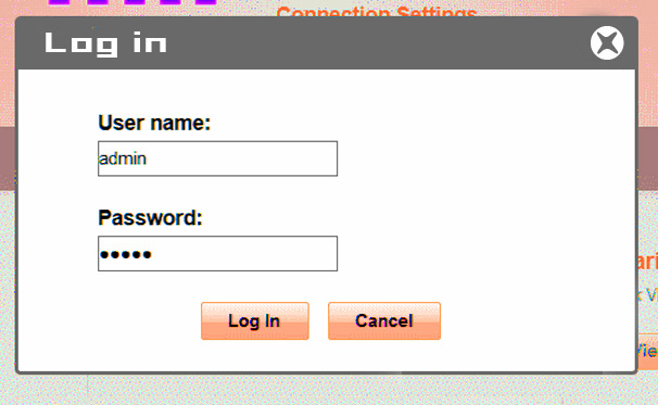Use default username and password to access the interface of router