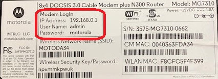 The label of the router displays the credentials
