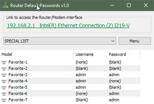 Router Default Password tool