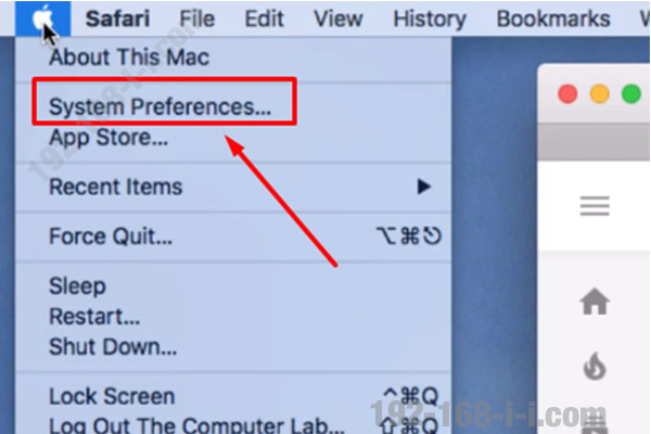 Finding the router IP address in Mac OS X step 1