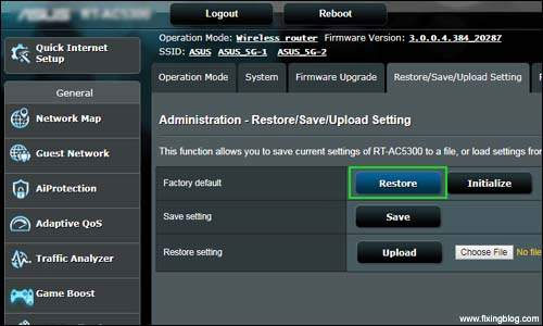 Reset your asus router