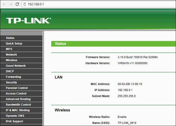 TP Link config page