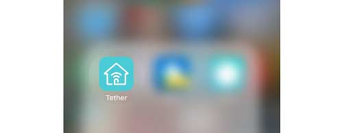 Launch the app Tether on your phone