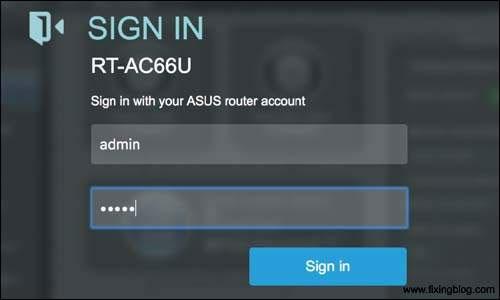 Sign-in page of the Asus router