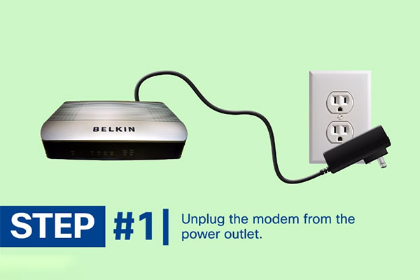 Detach the modem from the power outlet