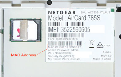 mac address on device's manufacturer