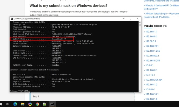 What is my subnet mask on Windows devices