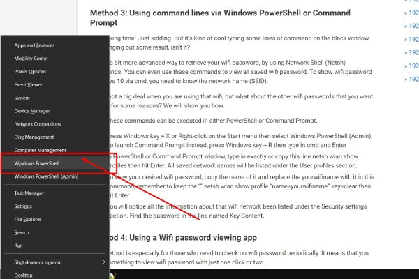 Using command lines via Windows PowerShell