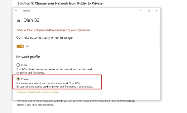 Change your Network from Public to Private
